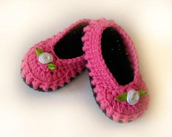 Baby booties Pink crochet (Пинетки для девочки)