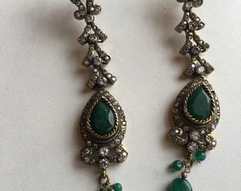 Antique emerald green earrings