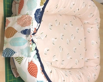 Cordless Baby Nest / Babynest with Colorful Feathers and Peach Swans shipped within US/U.S.