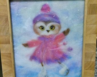 Skating owl - beautiful painting created from wool fiber.