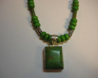 Green African Turquoise Necklace Set