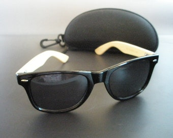 Bamboo sunglasses with black frame plus free case