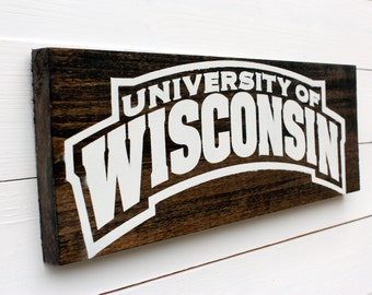 University of Wisconsin Logo Rustic Wooden Sign | Wisconsin Badgers Sign | Badgers | College Sign | Big Ten | Camp Randall | UW Madison