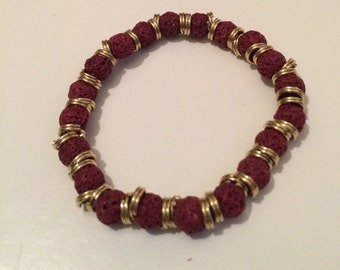 Red Lava Bead Bracelet