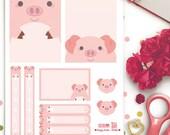 Pigs Weekly Theme Planner Stickers |  Erin Condren | Life Planner | Horizontal & Vertical | Cute | Animals