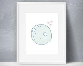 Girls Moon and Stars Wall Decor, Girls Moon and Stars Decor, NASA Kids Art, Astronaut Theme Kids Room, Outer Space Kids Moon, Kids Full Moon