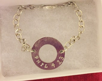 Personalized, hand stamped charm bracelet