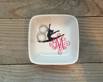 Monogrammed Jewelry Dish, Ring Dish, Personalized Ring Dish, Gift for Dancer, Dance Teacher Gifts, Ballet Dancer Gift, Dance Recital Gift,