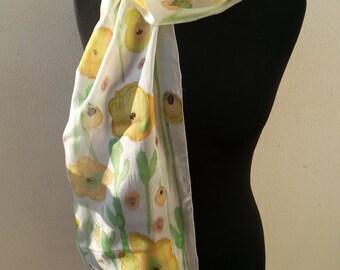 """Israel Scarf: Silk-Yellow, floral 54"""" X 11"""""""