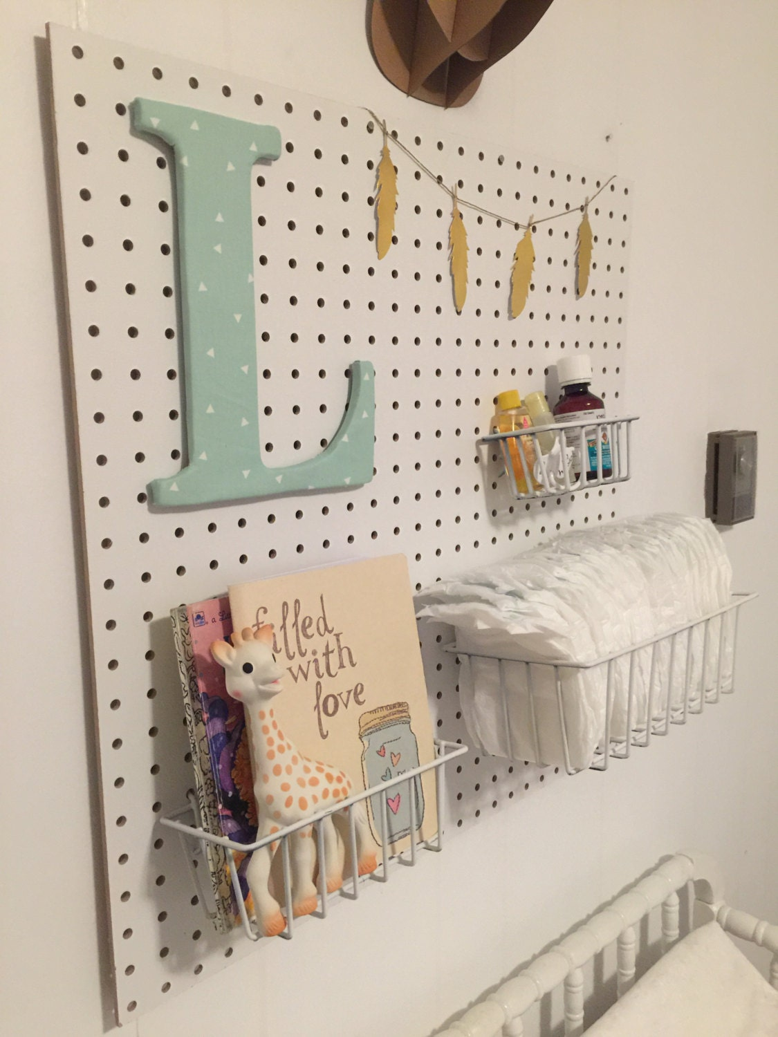 24x24in Girls Pegboard Nursery Decor Changing Table