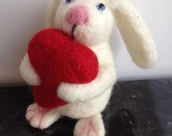 Ooak artist needle felted valentines bunny rabbit! Perfect gift