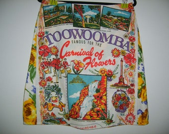 Size 12 Cotton/Linen ALine Knee Length upcycled tea towel skirt.