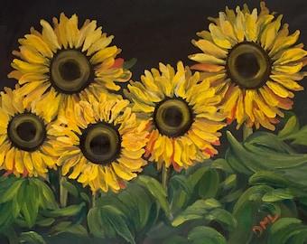 Sunflower Oil Painting, Sunflower Art, Sunflowers painting, Sunflower painting, Yellow flowers, Sunflower Decor, Oil Painting, Sunflowers