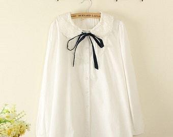 Japanese Harajuku Lace Band Shirt Sleeves Rolled Casual Cotton Blouse