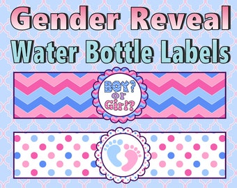 Gender Reveal Water Bottle Labels- INSTANT DOWNLOAD!!!
