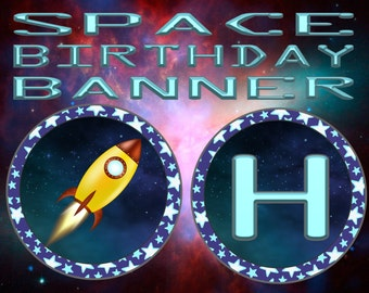 Rocket Space Adventure Birthday Banner- INSTANT DOWNLOAD