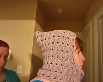 Purple hooded scarf