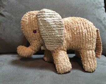 Vintage Stuffed Chenille Elephant,Button Eyes