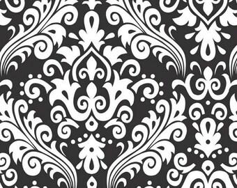 Riley Blake - Large Damask - White on black