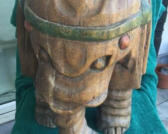Solid Teak Carved Elephant