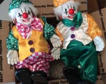 Porcelain Clown Set of Two