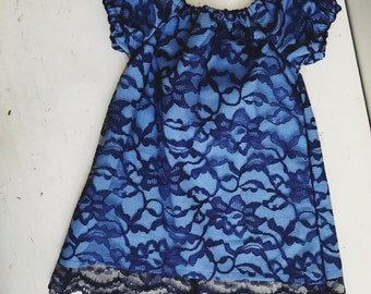 Blue lace peasant dress - Newborn