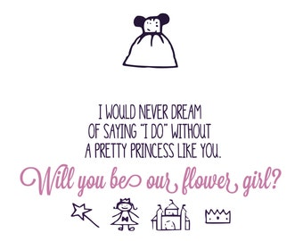 Pretty Princess Flower Girl Postcards - Flower Girl, Wedding Party - (Made to Order)
