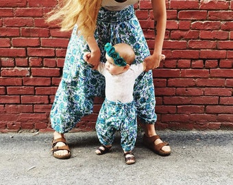 ALL SIZES, Block printed cotton harem pants, hippie baby, bohemian baby shower gift  boho baby pant, floral aztec baby, gypsy pant,