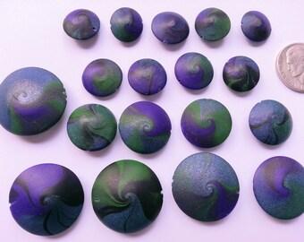 Purple, Green & Blue Swirl Beads, Set of 18