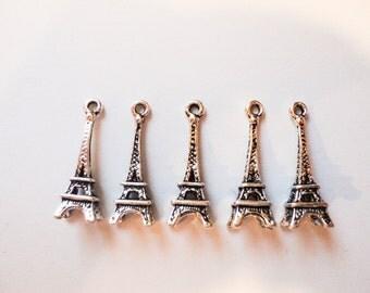 5 pc Eiffel Tower Paris Tibetan Silver Charm Pendant