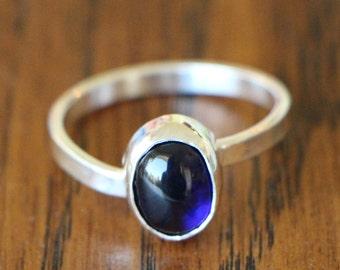 Sapphire Cabonchon Argentium Asymmetrical Ring