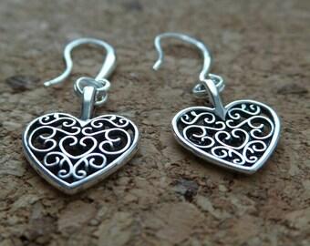 Tibet - Silver - Heart - Shaped - Hollow - Earrings - earringsbywdwlisa1 - ( #E10 )