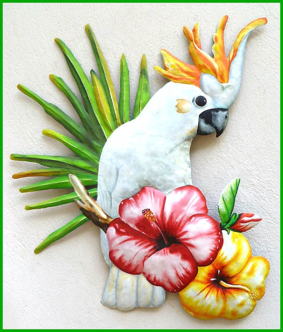 Parrot metal art tropical metal art wall art cockatoo for Tropical metal wall art