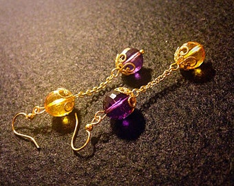 "Earrings ""Yellow - Violet"""