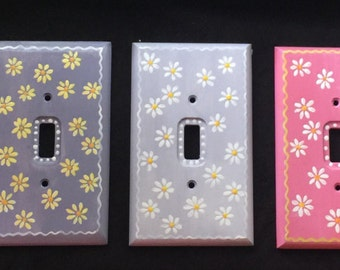 Daisy Light Switch Plate hand painted girls room