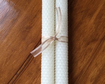 Ivory Beeswax Tapers