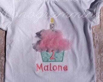 Cupcake Tulle Birthday Applique Shirt