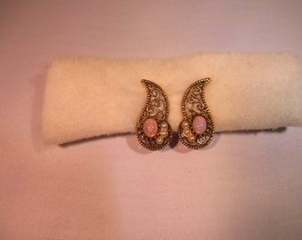 gold tone opeal earings