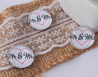 Mr and Mrs Personalised Glass Magnets - ADD YOUR SURNAME - Dark Pink Heart - Wedding Gifts - Guest Thank You Gifts - Couple Magnet Pack