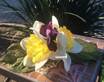 Daffodils and Hydrangeas Hair Clip