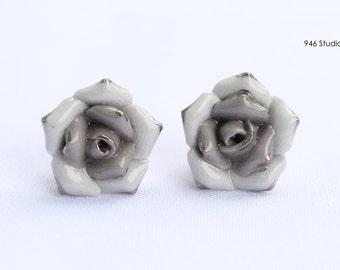 black rose ceramic earrings, rose earrings, black rose earrings, ceramic jewelry