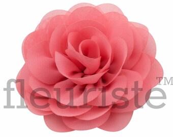 "CORAL 3"" Chiffon Rose Flower, Wholesale Flower, Fabric Flower, Headband Flower, Wedding Flower, Flower Embellishment, Diy Flower"