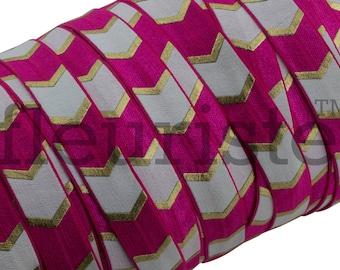 Fold Over Elastic, Stretch Elastic, Foldover Elastic, Elastic By The Yard, 5/8 Elastic, Elastic, Wholesale Elastic, Hot Pink Chunky Chevron