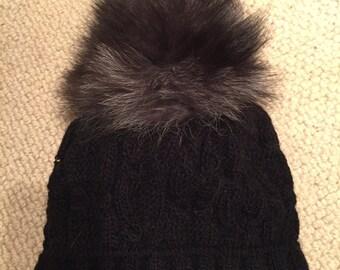 Wool hat with fox Pom Pom