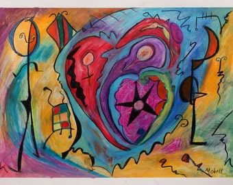 "Bruce Mishell, ""I Heart You"" 2016 Mixed Media, Printed on Paper"