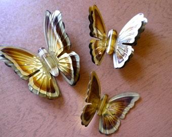 70s brass wall butterflies