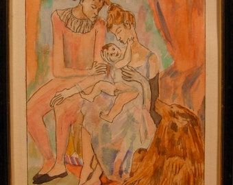 Harlequin's Family with an Ape after Picasso