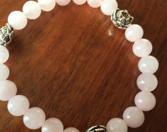 Pink Lotus -rose quartz and lotus bead stretch bracelet