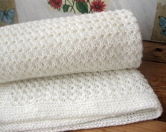 Hand Knitted White Baby Blanket