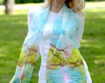 Silk scarf handpainted silk scarf  Floral silk scarf  Yellow silk scarvesSilk painting  Blue silk scarf Spring silk scarf Green silk scarves